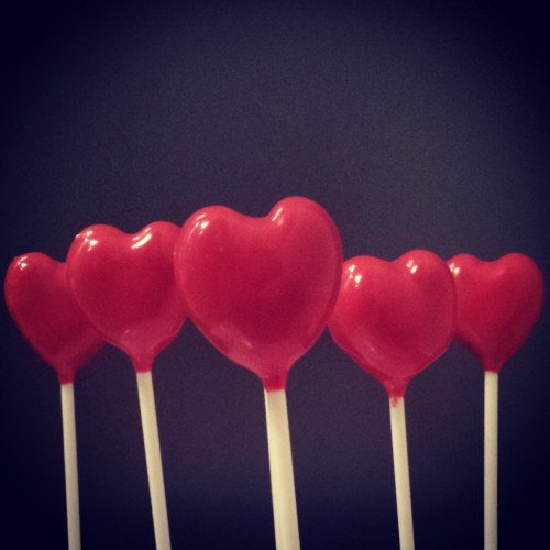 Red heart cake pops