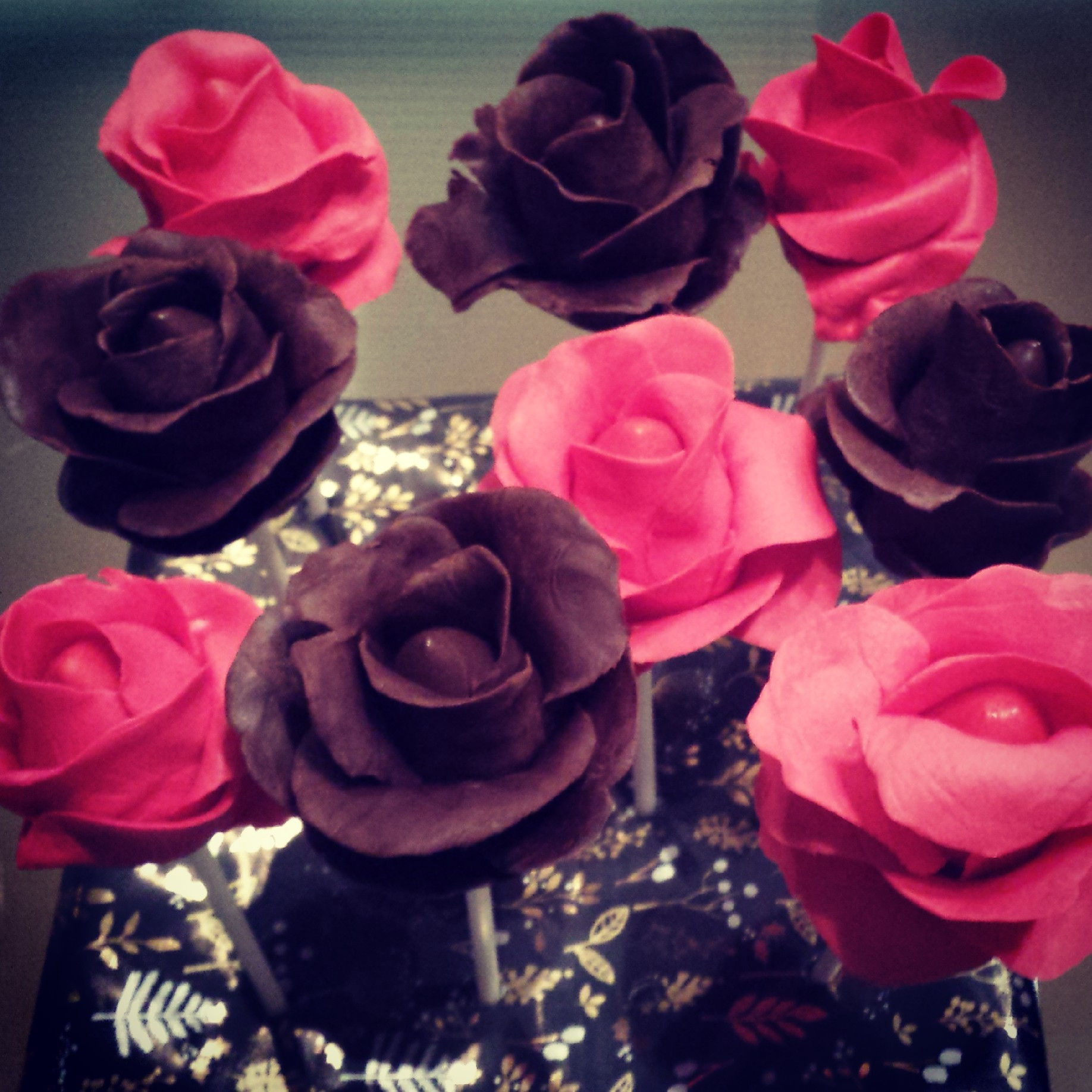 Red and chocolate rose cake pops