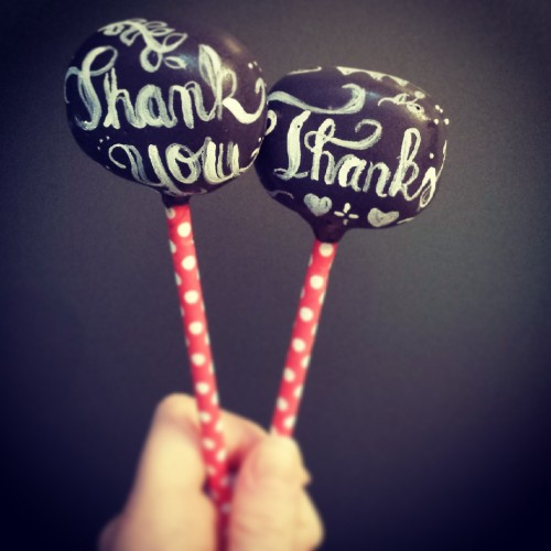 Thank you blackboard cake pops