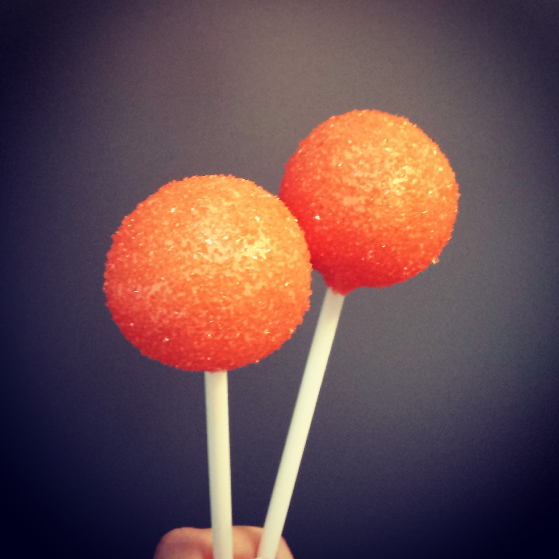 Sparkly orange cake pops